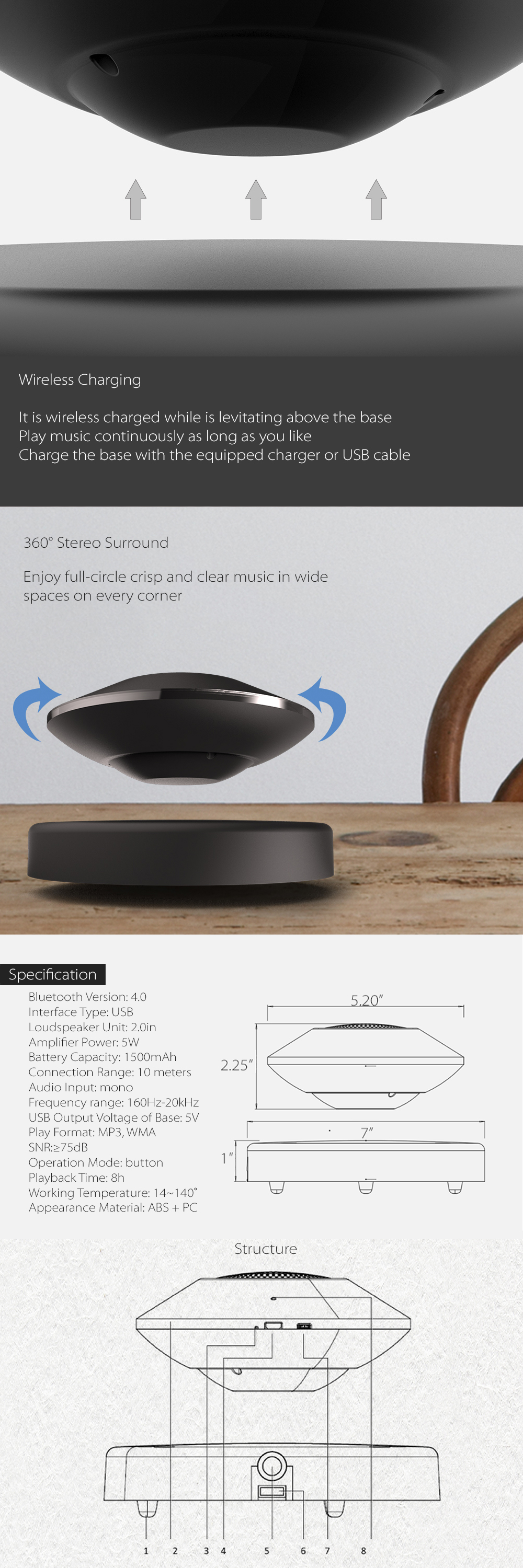 5D Levitating Portable Bluetooth Speaker Speaker That Floats